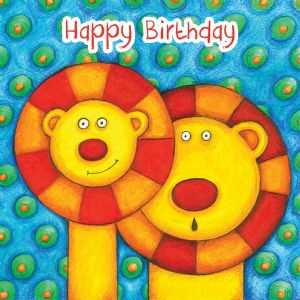 Lions Birthday Card With Googly Eyes TW270